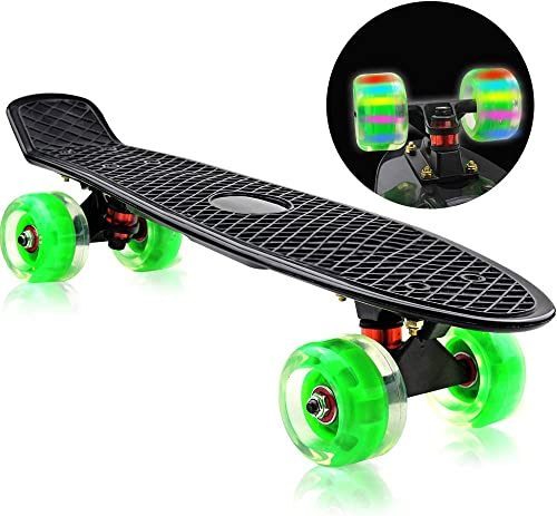 Easy_Way Complete Skateboards, Standard Skateboards-Mini 22 Inch Professional Cruiser Skate Boards for Kids Boys Girls Beginners Youth with High Rebound PU Flashing Wheels