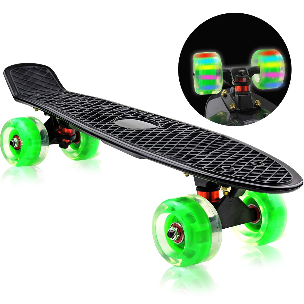 Easy_Way Complete Skateboards, Standard Skateboards-Mini 22 Inch Professional Cruiser Penny Boards for Kids Boys Girls Beginners with High Rebound PU Flashing Wheels