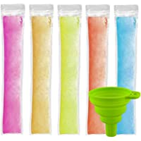 Ice Popsicle Pouches 150 PCS, CLTPY Ice Popsicle Mold Bags with A Funnel and Zip Seals, Disposable Ice Pop Pouch for…