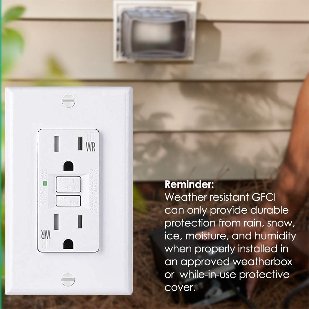 [10 Pack] BESTTEN 15A WR GFCI Outlets, Slim Outdoor Weather Resistant GFIs, Tamper Resistant Receptacles with LED Indicator, TR Ground Fault Circuit Interrupter with Decor Wall Plate, UL Listed, White by BESTTEN (Image #6)