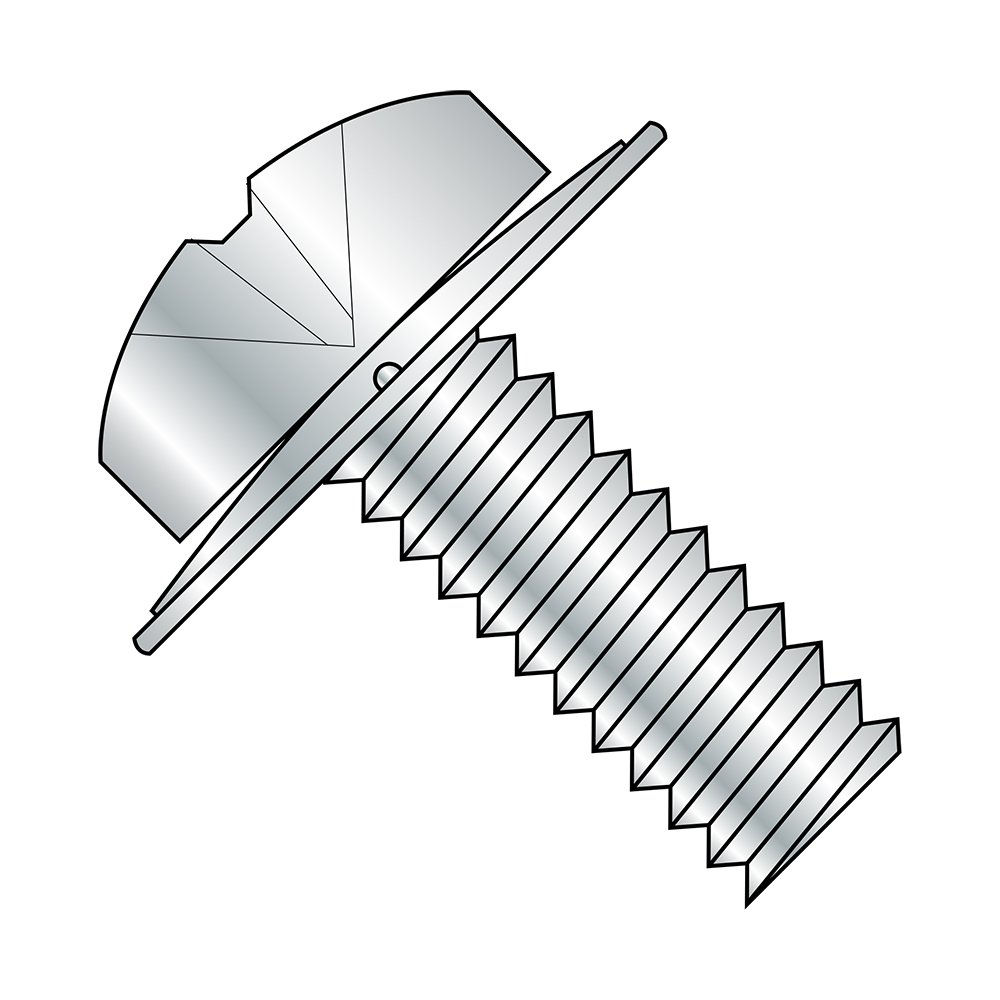 Steel Pan Head Machine Screw With Narrow Conical Spring Lock Washer, Zinc Plated, Meets ASME B18.13, 2 Phillips Drive, 6-32 Thread Size, 7/16'' Length, Fully Threaded, Imported (Pack of 100)
