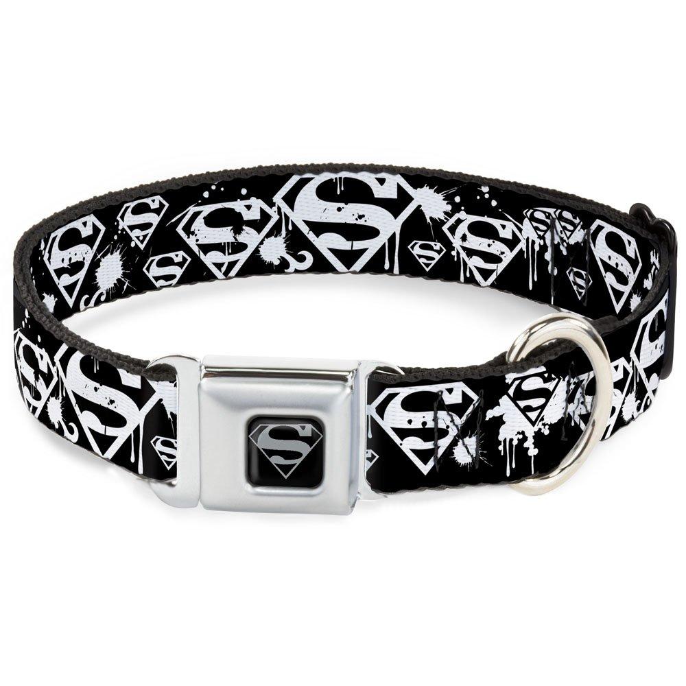 Buckle-Down Seatbelt Buckle Dog Collar Superman Shield Splatter Black White 1  Wide Fits 15-26  Neck Large