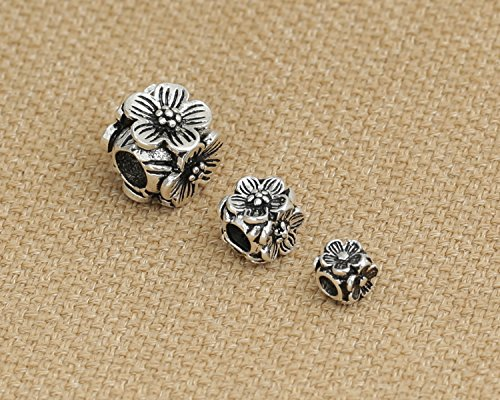 Luoyi Thai Sterling Silver Charm Beads European Beads Mini Flower Plum Blossom Rondelle Beads Spacer Beads (K007Z) (Thai Sterling Silver Flower)