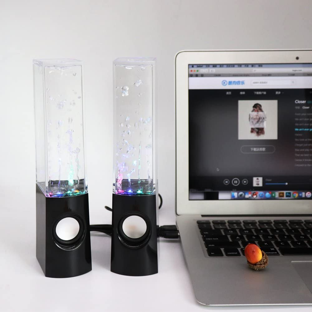Aolyty H2OSpeakers/_Black16 Colorful Led Dancing Water Fountain Light Show Sound Speaker for iPhone iPad Laptops Smartphone Black