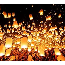 10pcs White Paper Chinese Lanterns Fire Sky Flying Paper Candle Wish Lamp for Birthday Wish Party Wedding Decoration by Unknown