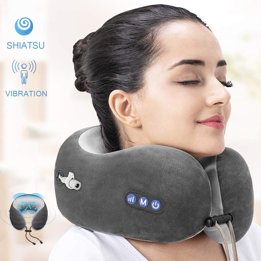 Mingzhen Massage Travel Pillow Rechargeable with Kneading and Vibration Function, Memory Foam Neck Pillow Suitable for Airplane, Train or Car (Grey)