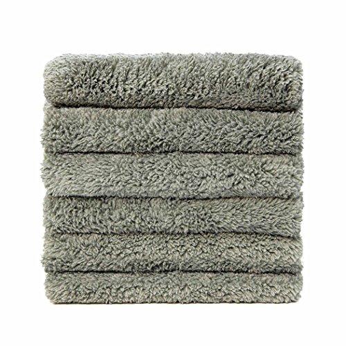 Carcarez Microfiber Car Wash Drying Towels Professional Grade Premium Microfiber Towels for Car Wash Drying 16 in.x 16 in. Pack of 6 (Gray)