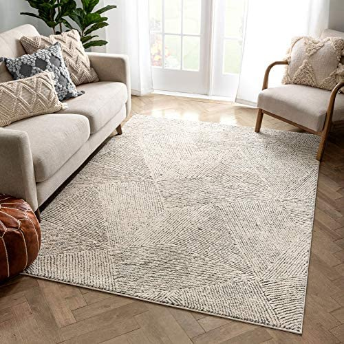 Well Woven Ezio Beige Tribal Geometric Distressed High-Lo Pile Area Rug 8×10 7 10 x 10 6