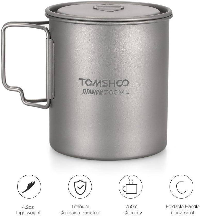 Taza de titanio al aire libre con tapa 750 ml Kamenda