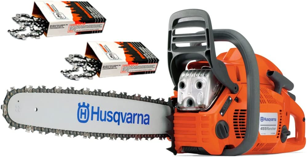 Husqvarna 455 Rancher 55cc Cutting Kit, includes a 455 Rancher chainsaw PLUS 20 Bar Chain PLUS 3 Extra WoodlandPRO Chain Loops