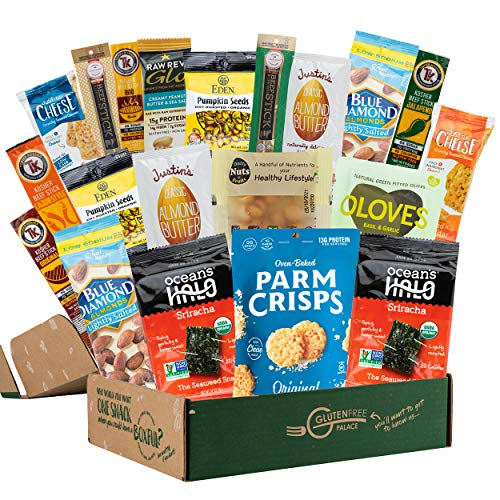 KETO SNACK BOX [20 Count] Low Carb Snacks, Low Sugar, Gluten Free Healthy Snacks Gift Basket   MOTHERS DAY Gift Basket Filled, Get Well, Quarantine   Best Keto Snacks