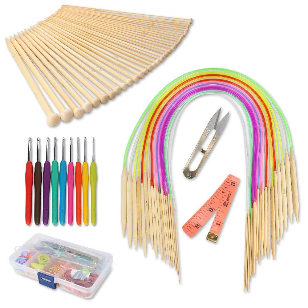 GROWNEER Knitting Needles Set, 36 Pcs Single Pointed Bamboo Needles, 18 Pcs Circular Needles with Colored Tube, 9 Pcs Crochet Hooks with Grip, Weaving Tools Box Knitting Kits for Weave DIY Gift