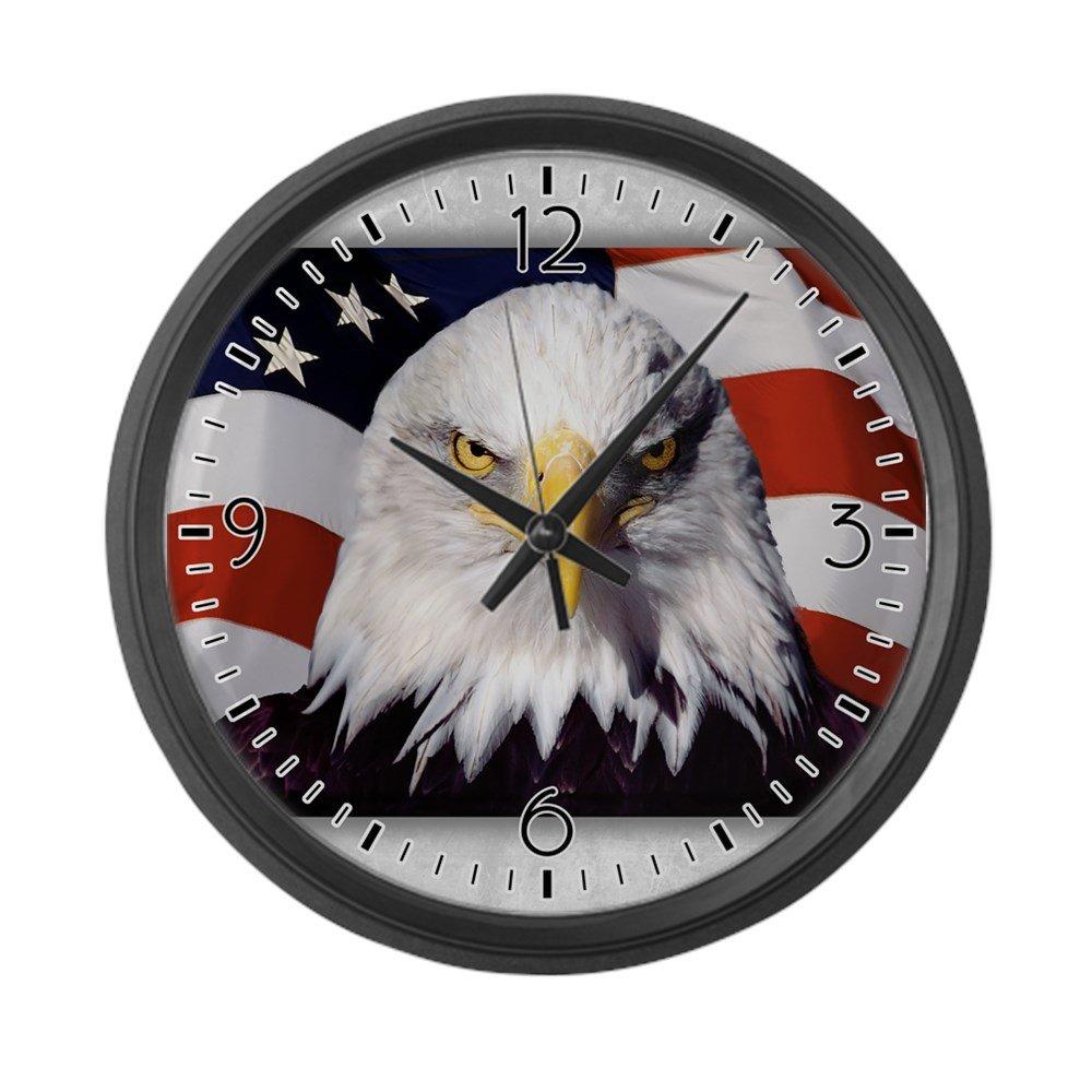 Large Wall Clock Bald Eagle on US American Flag