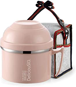 Lunch Box,1400ml Stainless Steel Sandwich, Snack, Lunch, Food Storage Container,Double Insulation for 2 Hours, Leakproof Bento Box,with Lunch Bag