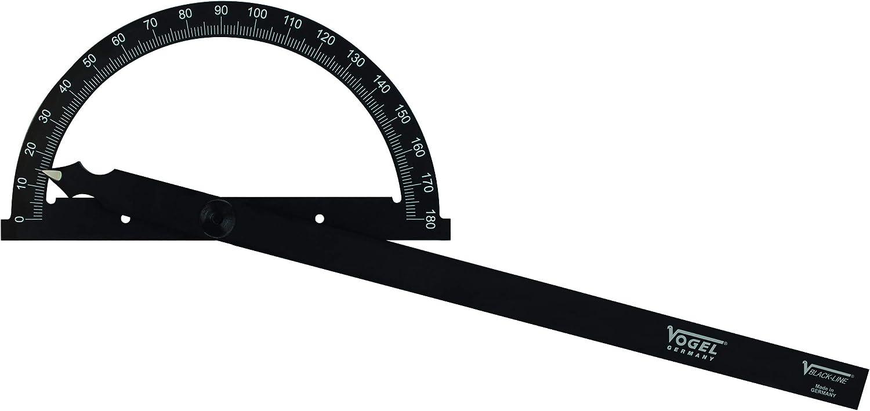 322513-2 Vogel Gradmesser Messbereich 0 /– 180/°, Bogen /ø 150 mm, Schienenl/änge 200 mm, aus Dur-Aluminium, mit Feststellschraub