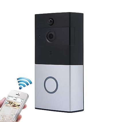 Antirrobo Inteligente Wifi Timbre Exterior Inalámbrico con Cámara, TEEPAO Vídeo Portero Automatico HD Cámara de