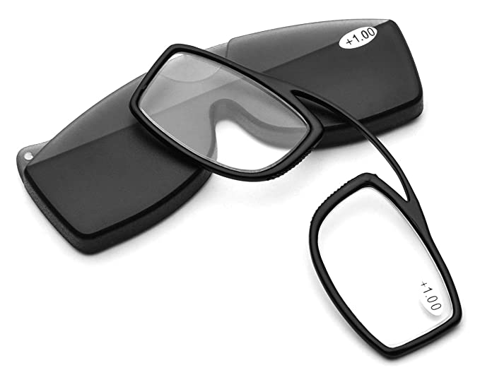 20993cfb04179 Pince Nez Style Clamp Nose Resting Pinching TR90 Reading Glasses for Men  Women FJB03 (Black