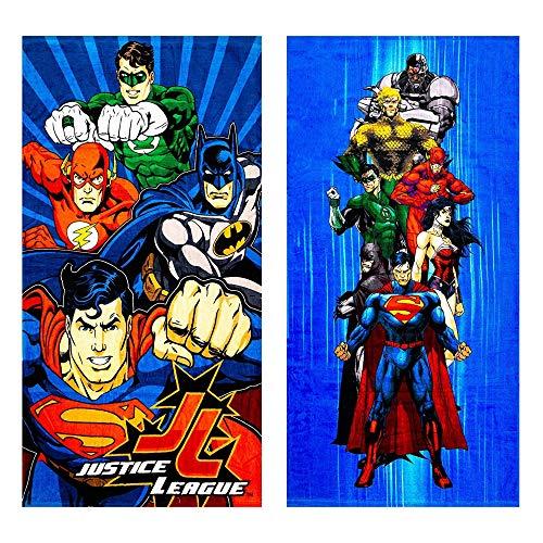 JPI 2pk Disney Marvel DC Looney Tunes Sesame Street Beach Bath Gym Kids Adult Towel Blanket (2pk Justice League)