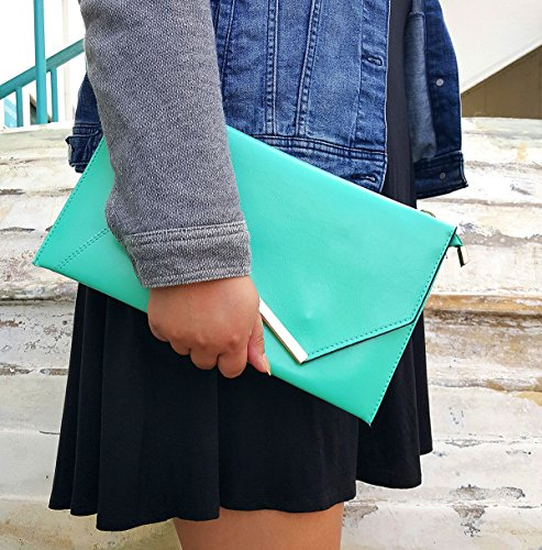BMC Fashionably Chic Turquoise Faux Leather Gold Metal Accent Envelope Style Statement Clutch by b.m.c (Image #3)