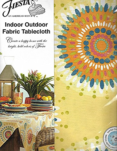 Fiesta Azule Sunflower Indoor/Outdoor Fabric Tablecloth, 60-by-84 Inch Oblong Rectangular