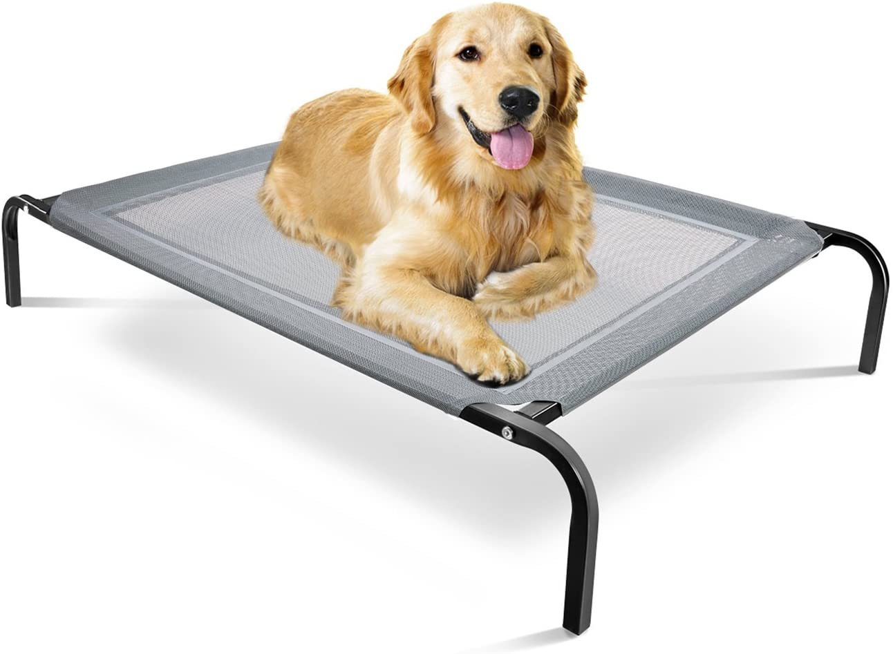 Elevated Dog Bed – Raised Pet Cot in or Out-Door Cots for Dogs Beds – Lifted Hammock Trampoline Suspended Platform Style for Cooling – Indestructible Chew Proof Mesh Cool Off The Ground Floor