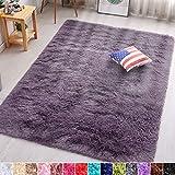 PAGISOFE Grayish Purple Fluffy Shag Area Rugs for