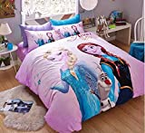 Sisbay Disney Frozen Kids Bedding,Baby Girls Pink Cartoon Print Anna Elsa Duvet Cover,Queen Size Fitted Sheet,4PC