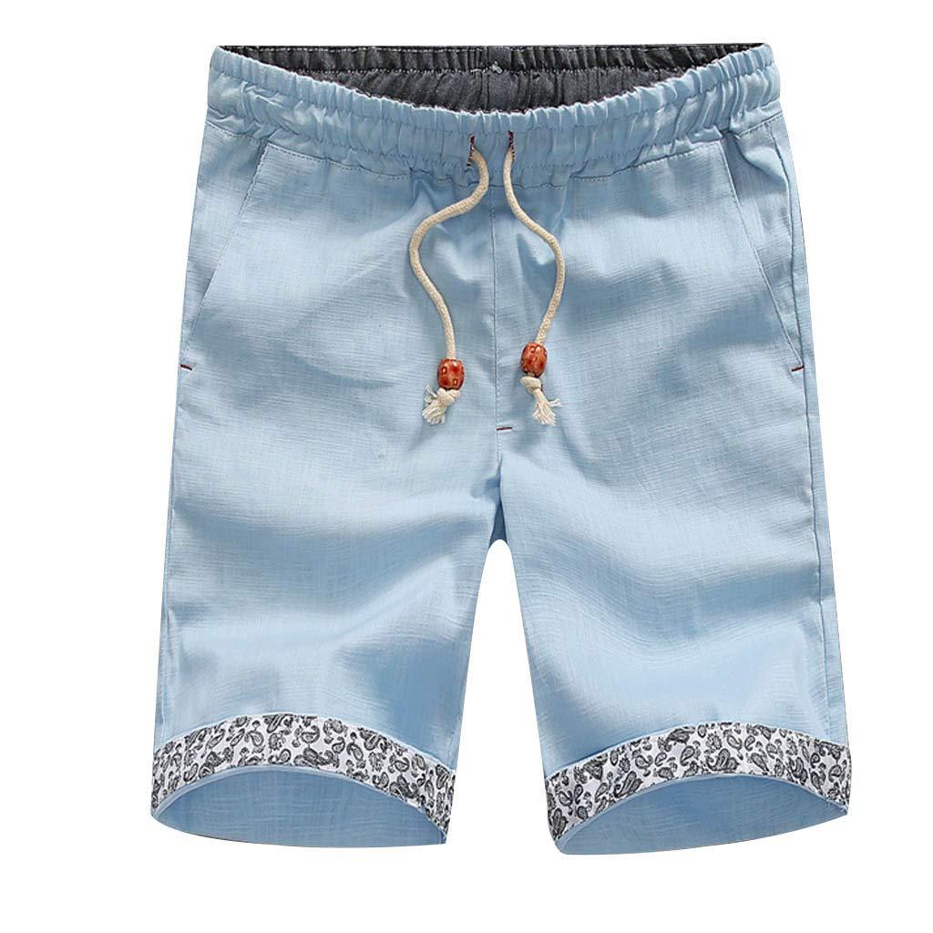 Xmiral Short Herren Unterkante Gedruckte Taschen Kordelzug Elastische Taille Urlaub Lässig Sporthose