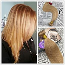 """Moresoo 24"""" 100g Straight Human Hair Sew in Weave Extensions Caramel Blonde/#27 Remy Hair Wefts with No Clips 100% Colored Brazilian Remy Virgin Human Hair"""