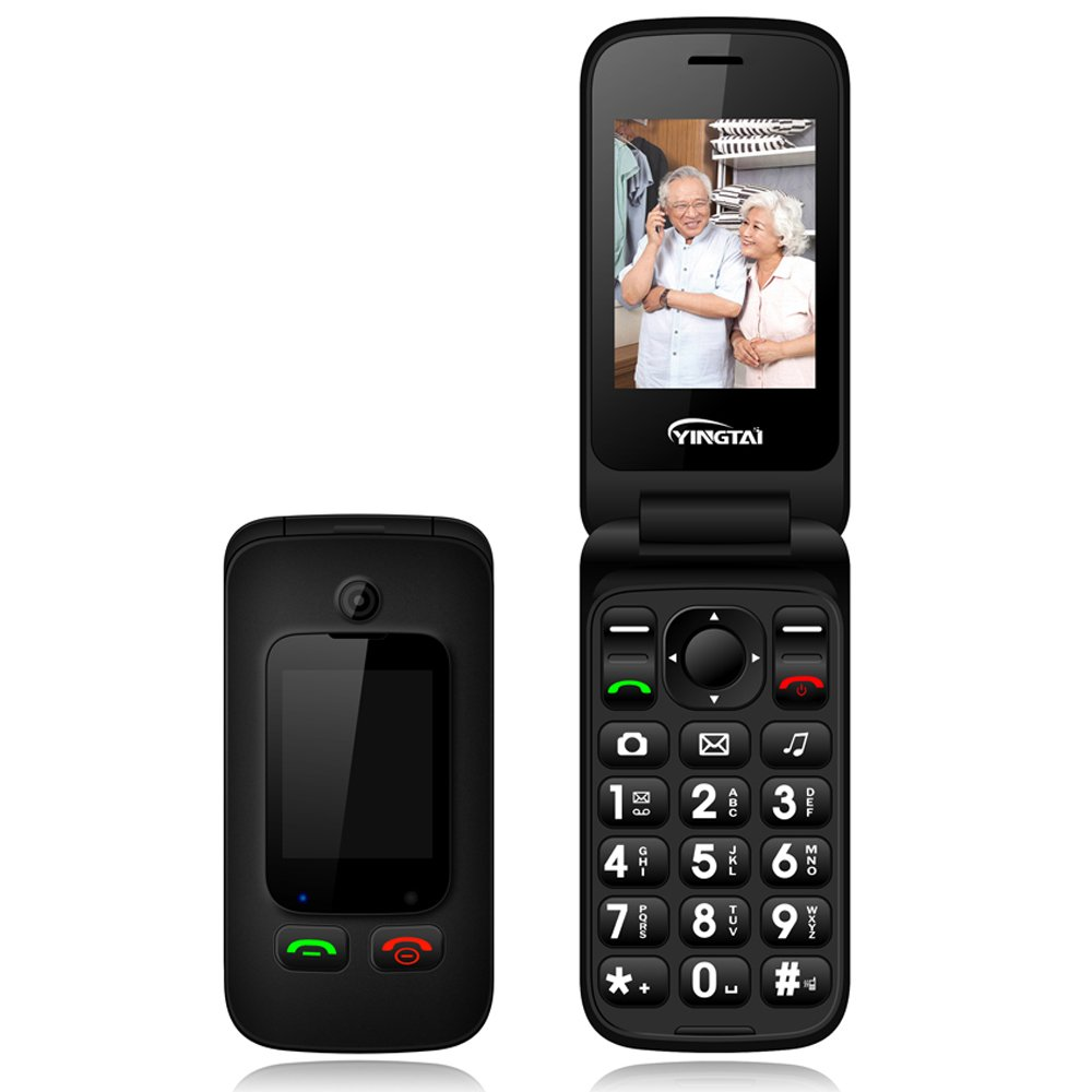 "YINGTAI T22 3G Big Button Phones for Seniors with Speed Dial 2.4"" Double Screen,Dual SIM Dual Standby Flip Cell Phones Unlocked,Emergency Mobile Phone Unlocked Senior Phone with SOS Function (Black)"