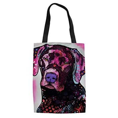 199ae4d681 Amazon.com  FORUDESIGNS Abstract Pup Canvas Portable Folding Shopping Bag  Women Folding Shoulder Bolsa Feminina Summer Beach Tote Handbags Color  C592Z22  ...