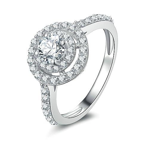 daesar bañado en plata anillos para mujer anillos de compromiso con Custom anillo anillo con circonitas grandes y pequeñas circonitas cúbicas anillo: ...