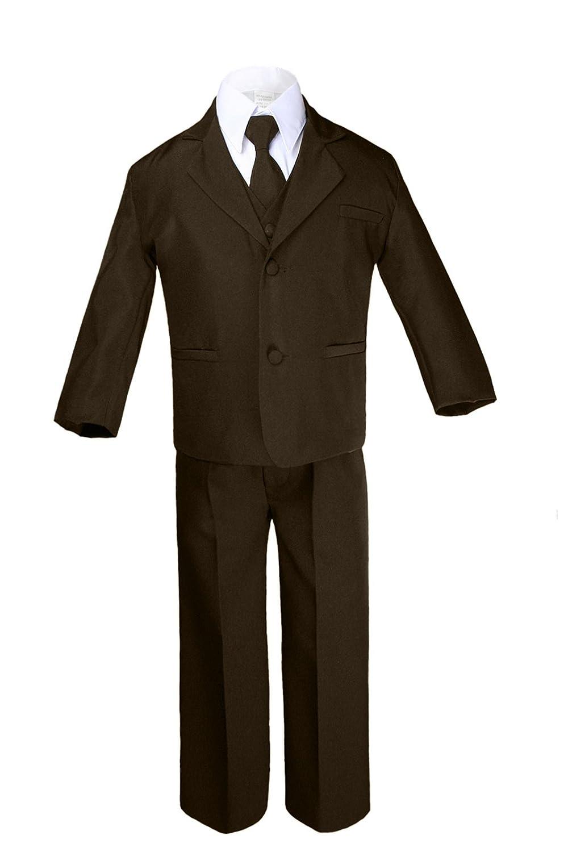 Unotux 7pc Boys Brown Suits with Satin Navy Blue Vest Necktie Sets All Size