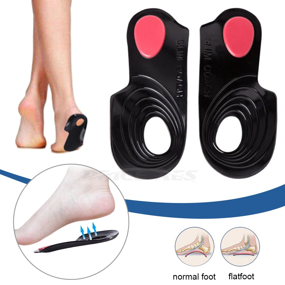 Flatfoot Orthopedic Insole O/X Type Leg Correctors Straightener Soft Gel Shock Absorption Arches Bow legs Support Foot Plantar Fasciitis Pain Relief Gel Corrective Sport Pads Heel Protector (L)