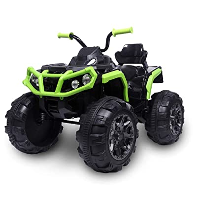 wang JESS Kids Ride-On Truck, Electric 4-Wheeler ATV Double Drive with LED Lights, Music, Spring Suspension, 2 Different Speed Modes - No Remote Control: Toys & Games