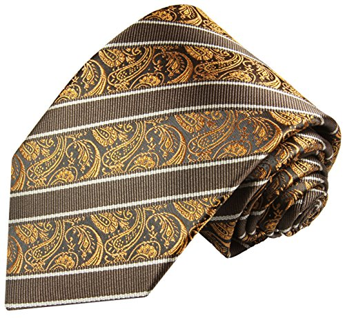 Brun rayé paisley ensemble de cravate 2 Pièces ( 100% Soie Cravate + Mouchoir )