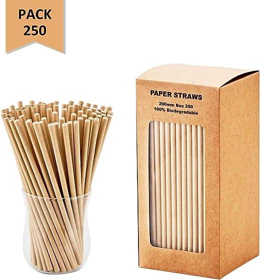 100 Brown Paper Biodegradable Party Wedding Birthday Babyshower Drinking Straws