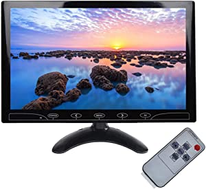 """ESoku 10.1"""" Inch Small CCTV Monitor - HD 1024x600 Portable Display LCD Color Monitors Screen with HDMI AV VGA Port Remote Control Built-in Speaker for DVR PC CCTV Security Camera"""