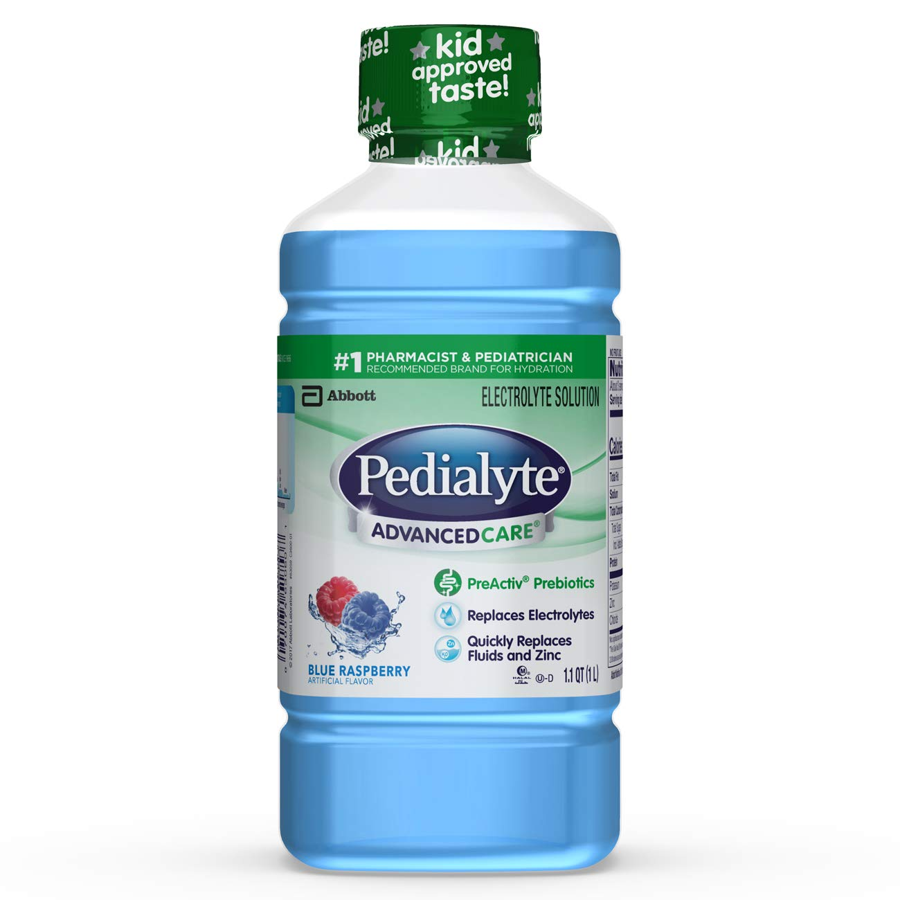 Pedialyte AdvancedCare Electrolyte Solution with PreActiv Prebiotics, Hydration Drink, Strawberry Lemonade, 1 Liter, 4 Count 64301