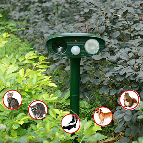 SMOODEN Solar Powered Ultrasonic Animal Repeller Outdoor Pest Control PIR Sensor, Water Proof, Motion Sensor, LED Flashes, Scare Cat Dog Deer Rabbit Squirrel and Other Unwanted Animals Away