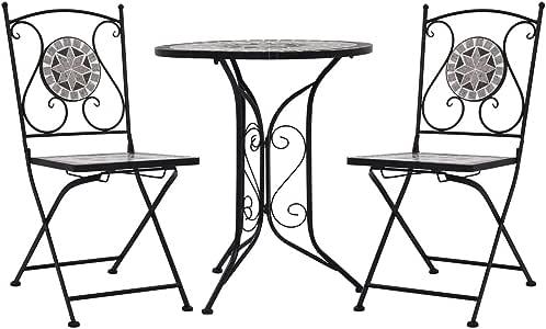 vidaXL Set de Mesa y Sillas de Bistró 3 Piezas con Mosaico Cerámica Hogar Jardín Comedor Bricolaje Decoración Diseño Estilo Mobiliario Muebles Gris: Amazon.es: Hogar
