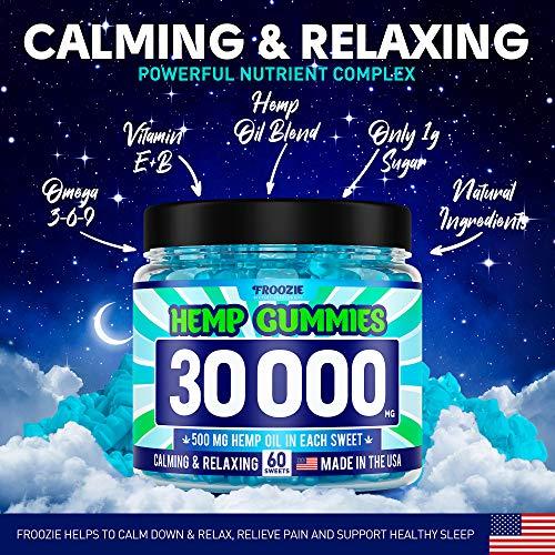610SDJDHiqL - Hemp Gummies 30000 MG - 500 MG Hemp per Gummy, 60 Sweets - Made in USA - Natural Anxiety & Stress Relief - Premium Hemp & Coconut Synergy - Mood & Immunity Support - Ideal Omega 3, 6, 9 Source