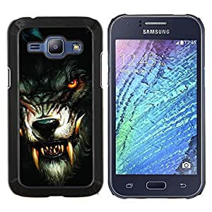 """Be-Star Único Patrón Plástico Duro Fundas Cover Cubre Hard Case Cover Para Samsung Galaxy J1 / J100 ( Hombre lobo Colmillos Sangrientos"""" )"""