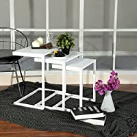 Lillyarn 3pc Stacking Nesting Coffee Table Set of 3 End Side Tables Set Living room Sofa Snack Table White