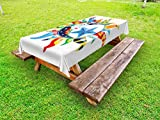 Lunarable Sun and Moon Outdoor Tablecloth, Colorful Artistic Display Sun with Flowers Summer Motifs Stars Crescent Moon, Decorative Washable Picnic Table Cloth, 58 X 84 Inches, Multicolor