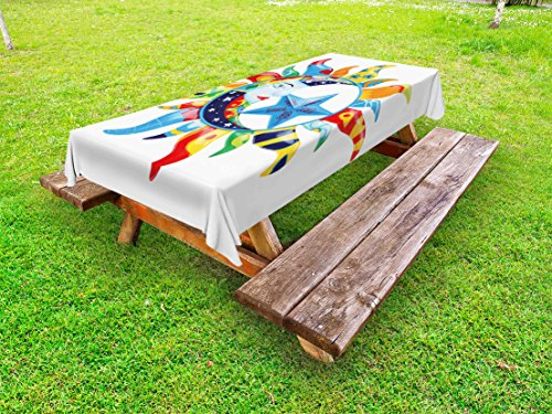 Lunarable Sun and Moon Outdoor Tablecloth, Colorful Artistic Display Sun with Flowers Summer Motifs Stars Crescent Moon, Decorative Washable Picnic Table Cloth, 58 X 84 Inches, Multicolor by Lunarable