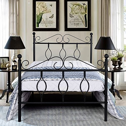 GreenForest Metal Bed Frame Twin Size with Headboard Steel Platform Complete Bed Box Spring Replacement Strong Mattress Foundation, Black Bedroom Vintage Sleigh Bed