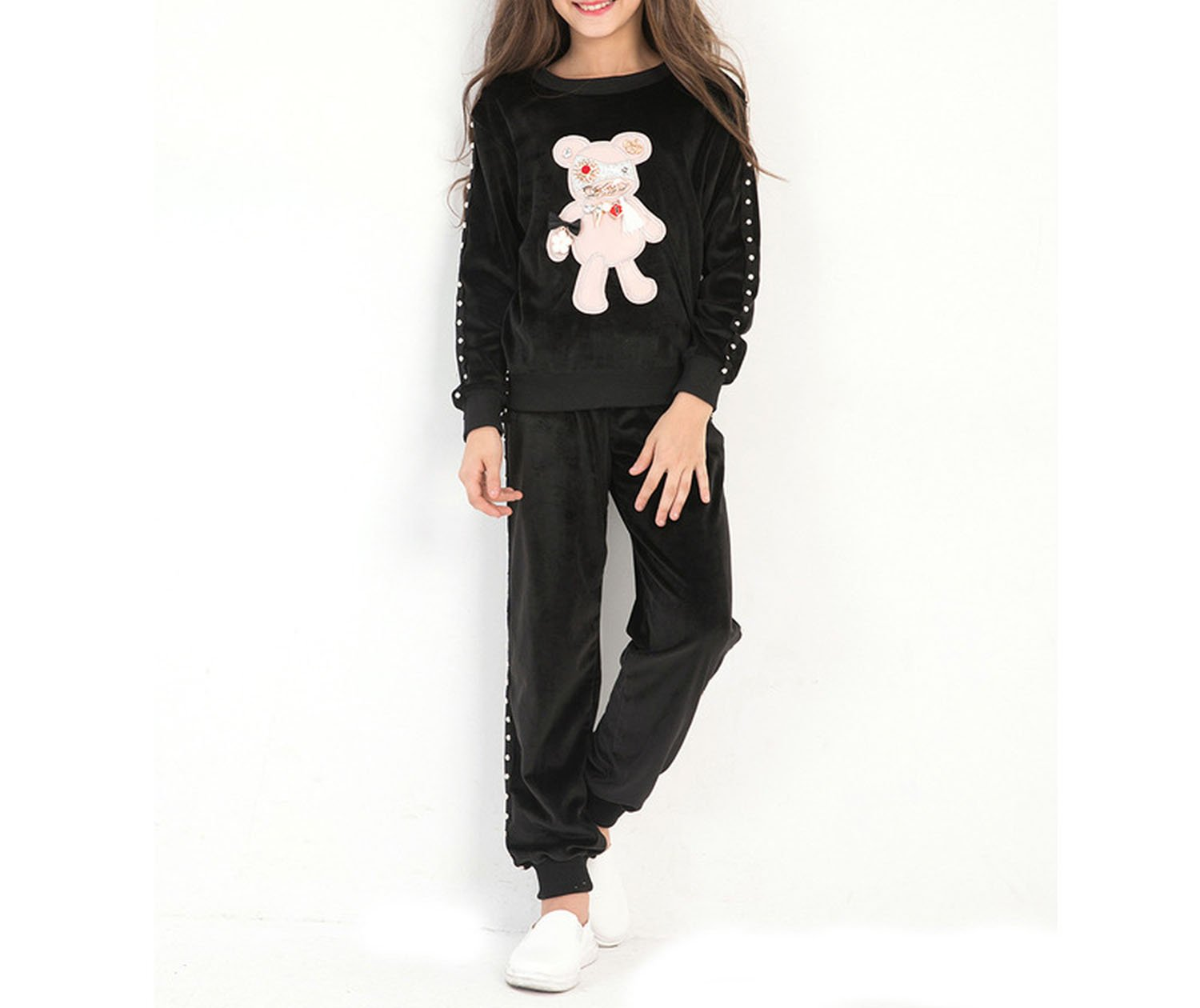 Little Girls Clothing Set Long Sleeve Carton Bear Two-Piece Girls Sport Suits,Black,10