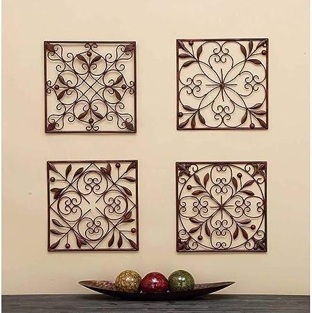 4 paneles de pared para interiores y exteriores, color marrón, con diseño de hojas, cuadrados, decoración
