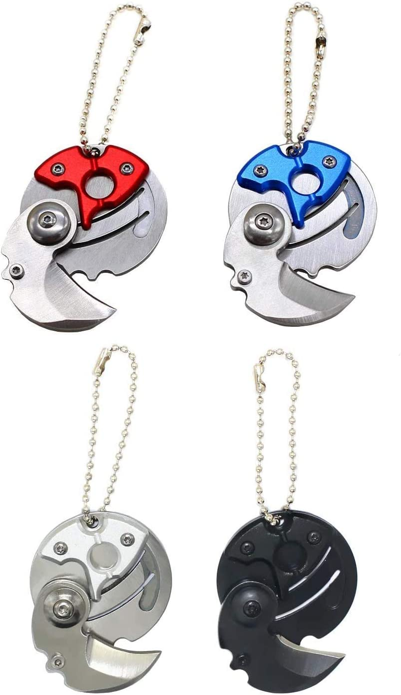 4 Pcs Multitool Stainless Steel Coin-Shape Mini EDC Folding Pocket Knife,Pocket Keychain Knife For OutDoor Camping